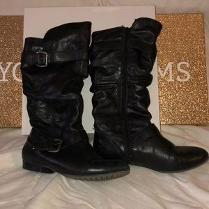 Report Black Leather Mid-Calf Boots